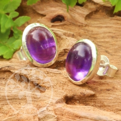 Amethyst Stud Earrings Sterling Silver 925 12x22mm