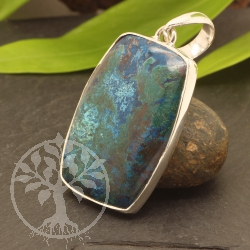 Chrysocolla Pendant with Silver Sterlingsilver 925 21X53mm