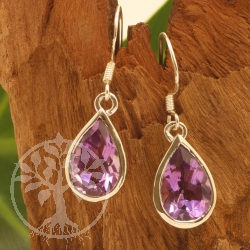 Amethyst Drop Earrings Sterling Silver 925 10X30mm