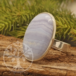 Blue Lace Agate Wave Oval Sterling Silver 925 Open Size