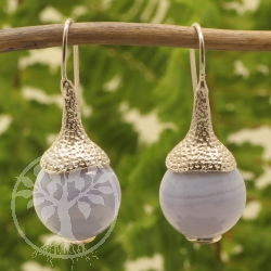 Blue Lace Agate Earrings Sterling Silver 925 12x31mm