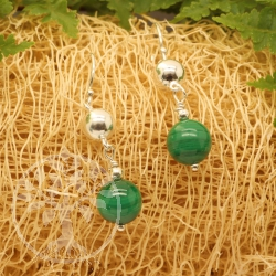 Malachite Earring Sterling Silver 925 8x31mm