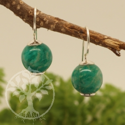 Amazonite Earrings Sterling Silver 925 10x23mm