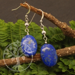 Lapislazuli Earrings Sterling Silver 925 14x50mm