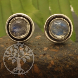 Moonstone Stud Earrings Sterling Silver 925 10x16mm