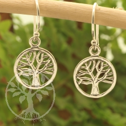 Silver Earring Tree Of Buddha 11x24mm, Sterling Silver Earring