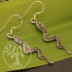 Filigran gearbeitete Ohrringe Schlange Markasit Silber 925  49mm