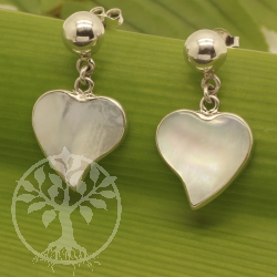 Heart Pearl Earring Sterling Silver 925 15x23mm