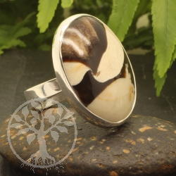 Ring Wood Oval Sterling Silver 925 24x26mm Size 54