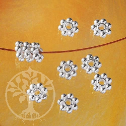 7 Point Silver Flower Spacers 7mm 10 pcs