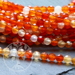 Carnelian Gemstone Beads Round Faceted 4 mm