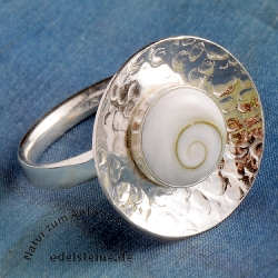 Shivamuschel Ring Silberring Shiva Auge Silber 925 Ring verstellbare Größe