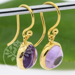 Amethyst Earrings Silver 925 Gold Plated 10mm Round Stone