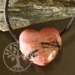 Rhodonit Stein Herz Anhänger 20x20x10 mm