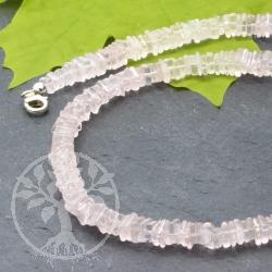 Rosenquarz Halskette mit Quadrat Scheibenperlen