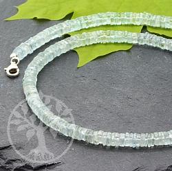 Aquamarin Halskette mit runden Scheibenperlen