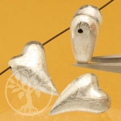 Silberperle Silberanhänger 15mm Herz Swing  .925er Silber Gebürstet Matt
