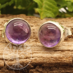 Amethyst Stud Earrings Circle Sterling Silver 925 8x18mm