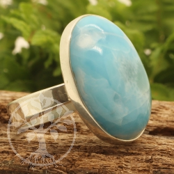 Silver Ring With Larimar Gemstone Sterlingsilver 925 20x26 mm Size 57