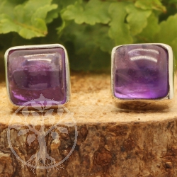 Amethyst Stud Earrings square sterling silver 925 7X7mm