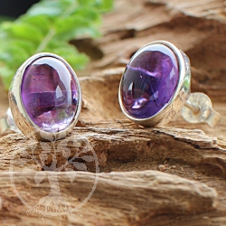 Amethyst Stud Earrings Oval Sterling Silver 925 8x10mm