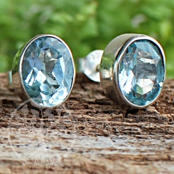 Topas Stud Earrings Oval Sterlingsilver 925 7x9mm