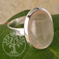 Rose quartz ring - oval - size 59 - Pink Dreams