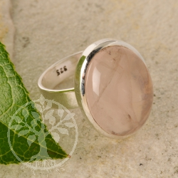 Rose quartz ring - oval - size 58 - Daisy