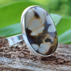 Ring Wood Oval Sterling Silver 925 23X23mm Size 54