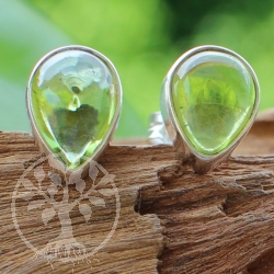 Earstuds Drops Peridot Gemstone Sterling Silver 925 7x9mm