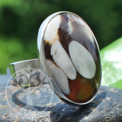 Ring Wood Oval Sterling Silver 925 24X24mm Size 54
