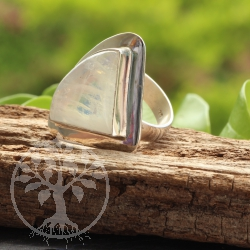 Rainbow Moonstone Ring Triangle Silver 925  Size 58