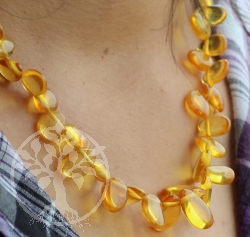 Amber Necklace drop beads honey 47cm