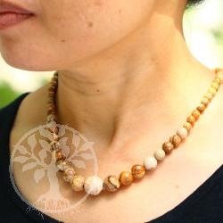 Landschaftsjaspis verlaufende Halskette 48 cm