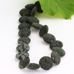 Lava Schmuckperlen 20x7 mm Disc Schwarze Perlen