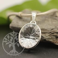 Facettierten Bergkristall Silber Anhanger 36x20 mm