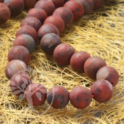 Roter Jaspis als matte Kugelperlen 8 mm