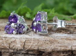 Amethyst Stud Earrings Sterlingsilver925 7x14mm