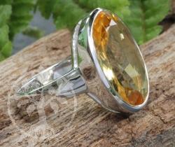 Citrin Ring Silber 925 - Citronella Facettenschliff Größe 55