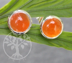 Carnelian Circle Ear Stud Orange 10x17mm