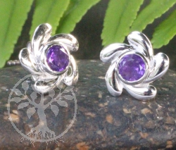 Amethyst Rowel Stud Earrings Sterlingsilver 925 9x15mm
