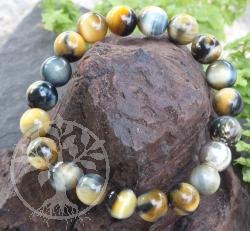 Tigerauge/Falkenauge Kugelperlen Armband mit Silber Perlen 10mm 18cm Länge