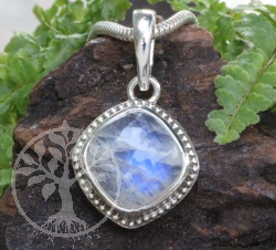 Rainbow Moonstone Square Pendant Sterlingsilver 925 14x25mm
