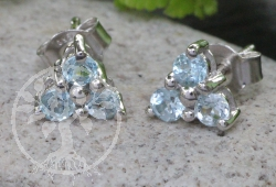 Blue Topaz Stud Earrings Sterlingsilver 925 7x15mm