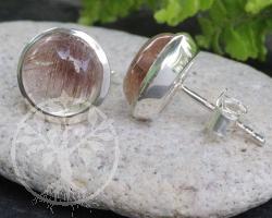Rutilqaurz Sterling Silber 925 Ohrstecker 10 mm Rund
