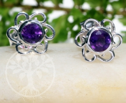 Amethyst Flower Stud Earrings Sterling Silver 925 9x15mm