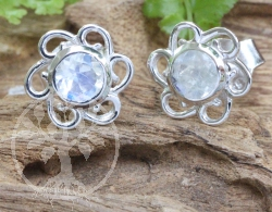Moonstone Flower Stud Earrings Sterlingsilver 925 9x15mm