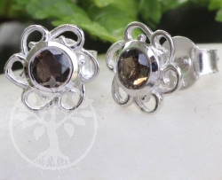 Smoky Quartz Flower Earrings Sterlingsilver 925 9x15mm