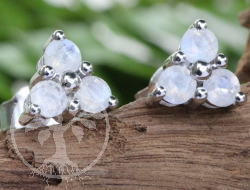 Moonstone Stud Earrings Sterlingsilver 925 7x15mm