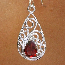 Garnet Earrings Sterlingsilver 925 Art Nouveau Style 11x33mm
